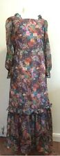 Vintage 1960s 60s Original Maxi Dress Photo Floral Print Chiffon Size 12 BOHO