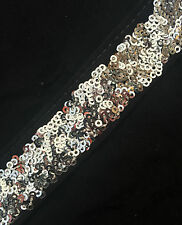 28mm Heavily Sequinned Lace/Trim/Braid- 1Metre - 9 Colours