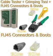 RJ45 Network Cable Crimping Crimper Stripper Tester Connectors Boots Network Kit