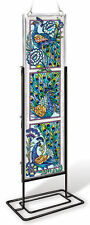 """AMIA STAINED GLASS 4.5"""" X 16"""" PEACOCK  WINDOW PANEL (NO STAND) #42022"""