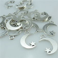 14082 70PCS Alloy Antique Silver Tone Celestial Crescent Mini Star Moon Pendant