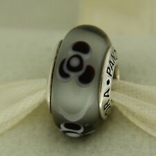 Authentic Pandora 790642 Grey Flowers For You Retired Murano Glass Bead Charm