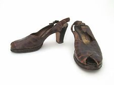 Vintage 1940's WWII low platform alligator slingback peeptoe heels shoes Sz 6A