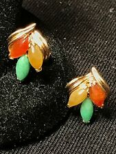 14K Yellow Gold Multi-Colored Jade Post Earrings