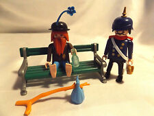 Playmobil Vintage Victorian Hobo 5504 On Park Bench w German Officer, incomplete