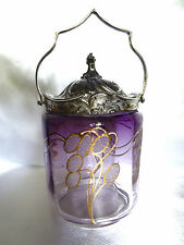 Antique Art Nouveau Amethyst Glass Biscuit Jar with Golden Gilt Design