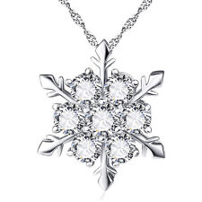 Women Christmas 925 Silver Crystal Snowflake Necklace Pendant Xmas Gift Party