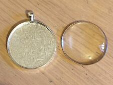 Silver Plated Round Pendant Frame, 38mm plus matching 38mm Glass Cabochon