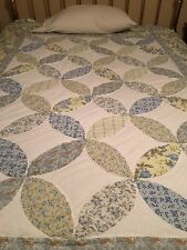 Blue Green Floral Patchwork Twin Size Quilt  Pastel Bedding 68X86 Sunham Home