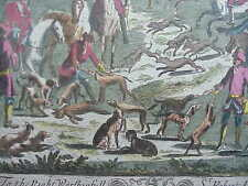 #733 ORIGINAL 16TH-CENTURY HUNTING RABBIT DOGS WATER COLORED ETCHING OXFORD