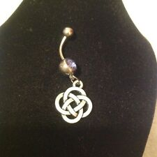 chinese knot belly bar  silver plated.