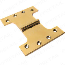 "2 x POLISHED BRASS PARLIAMENT DOOR HINGES 100mm 4"" Wide Throw Full Swing Back"