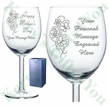 Personalised Engraved Wine Glass Birthday Wedding Mothers Day Gifts 18th 60th