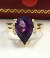 3.14 CTW Natural Purple Amethyst & Diamonds in 14K Solid Yellow Gold Women Ring