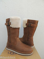 UGG WILOWE TALL CHESTNUT LEATHER/ SHEEPSKIN CUFF BOOTS, US 8/ EUR 39 ~ NEW