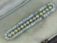BEAUTIFUL INTRICATE ART DECO WHITE DIAMANTE PASTE AND FAUX PEARL BAR BROOCH,