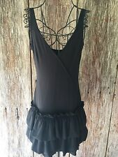 MARC JACOBS black 2 Tiered Flouncy Dress Cotton Sleeveless Short Lbd