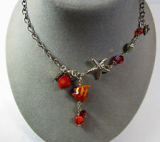 STERLING SILVER Signed Le Bella Beads Red Orange Beach Theme Star Fish Necklace