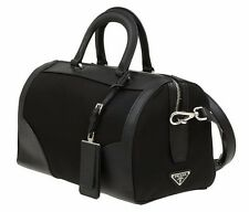 NEW PRADA BLACK TESSUTO SAFFIANO LEATHER LOGO PADLOCK BOSTON SHOULDER BAG