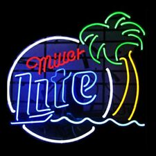 "New Miller Lite Palm Tree Beer Bar Man Cave Neon Sign 17""x14"""