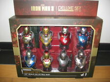 --IRON MAN 3 DELUXE SET of 8 1/6 BUST HOT TOYS SIDESHOW--buste