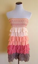 Lulumari Pink Eyelet Lace Ruffled Mini Dress Boho Chic Size Small