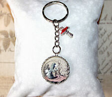 Alice in Wonderland Keyring with caterpillar illustration & mushroom charms