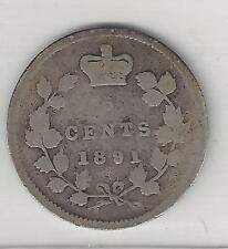 CANADA,  1891,   5 CENTS,  SILVER,  KM#2,  GOOD