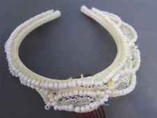 Tiara Crown Headband VTG Lace Pearls 1st First Communion Quinceanera Updo Bridal