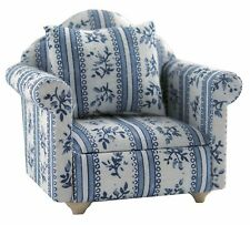 DOLLS HOUSE 1/12 SCALE BLUE FLORAL COLOURED ARMCHAIR