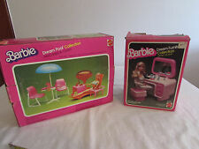 vintage barbie furniture,patio table /chairs. vanity/ seat.