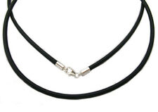 """NEVER WORN!  .925 STERLING SILVER 16"""" BLACK RUBBER CORD NECKLACE"""