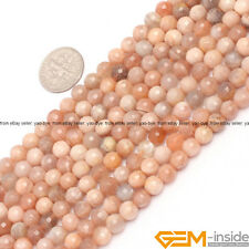 6mm Natural Gemstone Faceted Sun Stone Round Beads For Jewelry Making 15""
