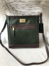 $150 Tignanello Leather Function Frenzy Green Crossbody RFID Protection Bag New