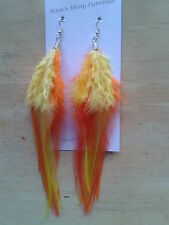 Big Fluffy Rooste Feather Fashon Earrings Available In Sliver Or Gold Hand Made