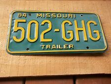 502 GHG 1994 Trailer Missouri Green & Yellow License Plate only one