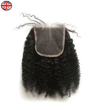 "Afro Kinky Curl Hair Parting Top Closure 6A Brazilian Remy Human Hair 4x4"" Lace"