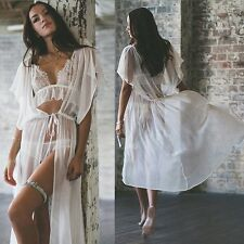 Women Summer Beach White Chiffon Swimwear Long Maxi Shirt Dress Bikini Cover Up