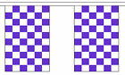 PURPLE & AND WHITE CHECKERED BUNTING 9 metres 30 flags Polyester flag