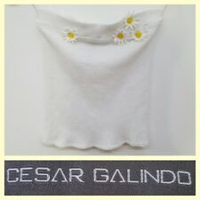 Cesar Galindo $195 stretchy textured white tube top w/daisy flowers~S/XS