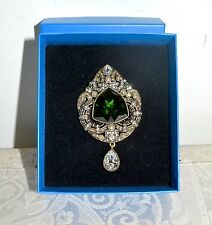 "New $140 HEIDI DAUS ""Royal Allure"" Emerald- Crystal Brooch Pin Regal"