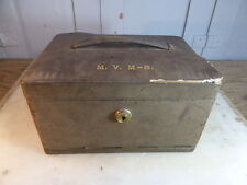 Vintage leather clad jewellery trinket box concertina style initials MVM-B