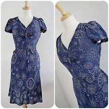WHISTLES 100% silk TEA DRESS 1940's style blue ATOMIC sputnik sweetheart ww2 8