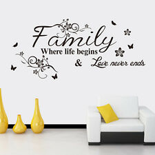 Removable Family Quote Life Love Wall Sticker Art Vinyl Home Decal Decor Mural