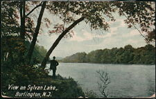 BURLINGTON NJ View on Sylvan Lake Vintage Postcard Old New Jersey