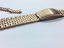 OMEGA ROSE GOLD PLATED GENTS WATCH STRAP,CURVED ENDS,18MM.RICE BEAD