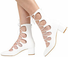 WOMENS ZIP UP MID BLOCK HEEL CUT OUT LADIES LACE UP ANKLE SANDAL SHOES SIZE 3-8