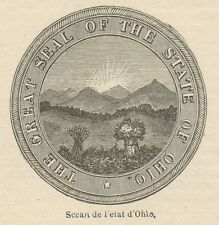 C8881 Seal of the State of Ohio - Stampa antica - 1892 Engraving