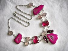 AB Pink Botswana Agate Rose Quartz Rainbow Topaz  Statement Necklace Silver 21""