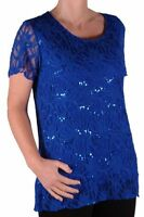 Womens Casual Short Sleeve Scoop Neck Lace Mesh Plus Size Blouse Tunic Top